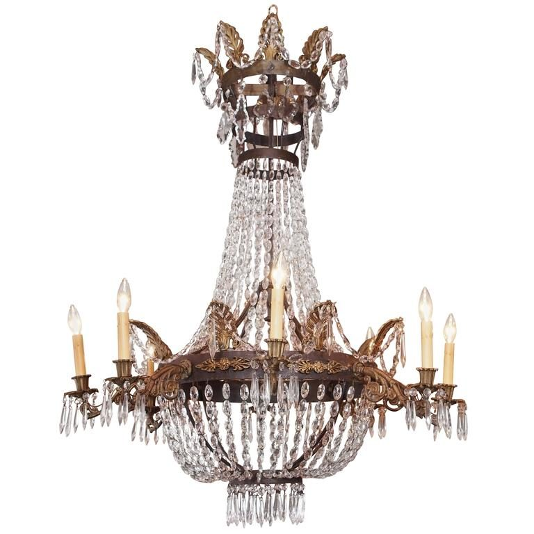 Antique French Empire Crystal And Bronze Eight Light