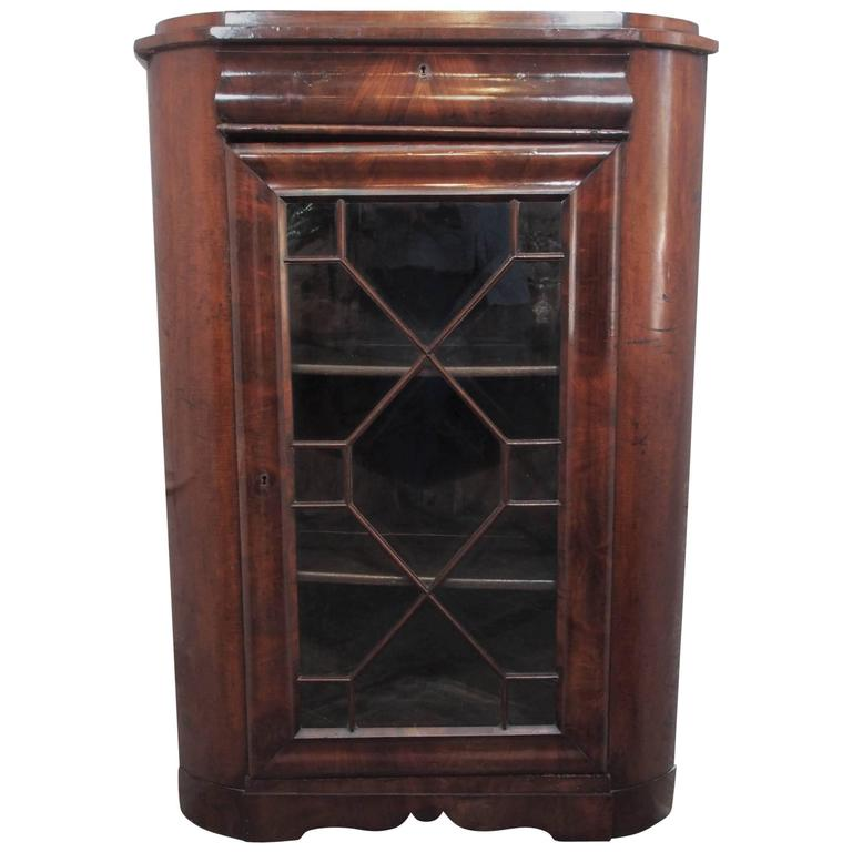 Ordinaire Antique French Mahogany Corner Cabinet Or Bookcase Louis Philippe