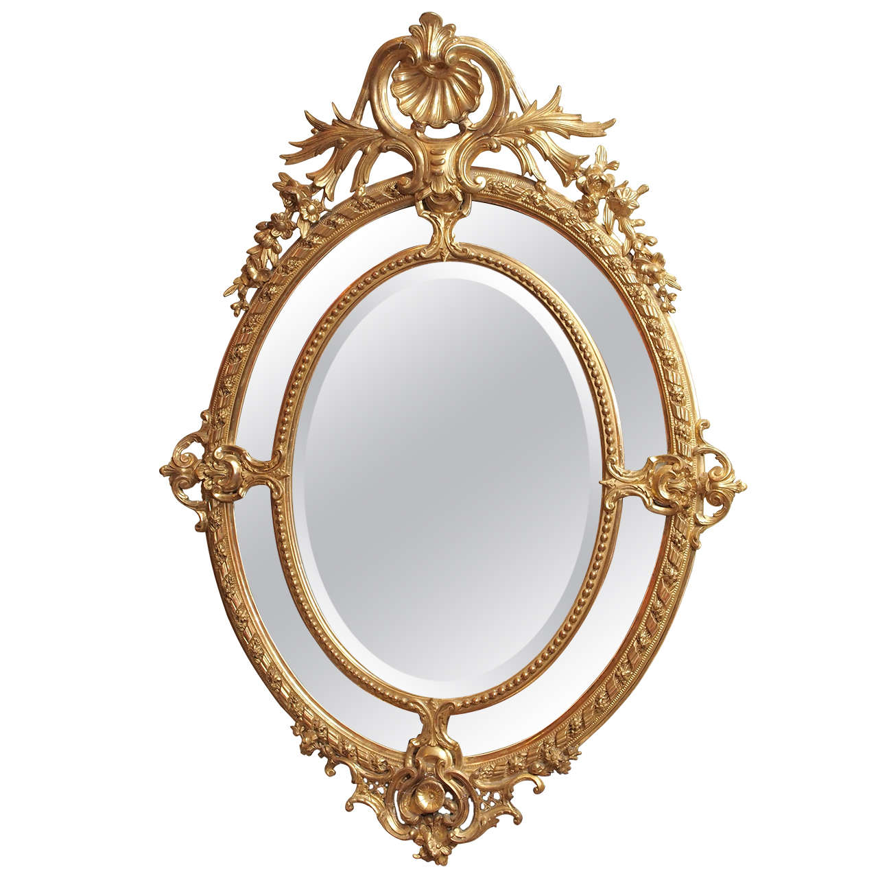 Antique French Double Oval Gold Leaf Mirror Royal Antiques